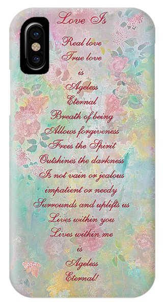 Love Is...2 - Original Art And Poetry - Image And Text IPhone Case