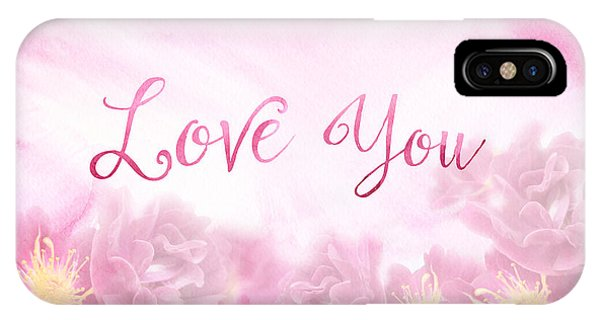 Love You Dark Pink Roses Watercolor Background IPhone Case