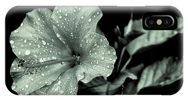 Lovely Hibiscus In Monochrome IPhone Case
