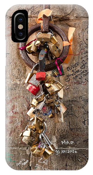 Lover's Locks On The Ponte Vecchio In Florence IPhone Case