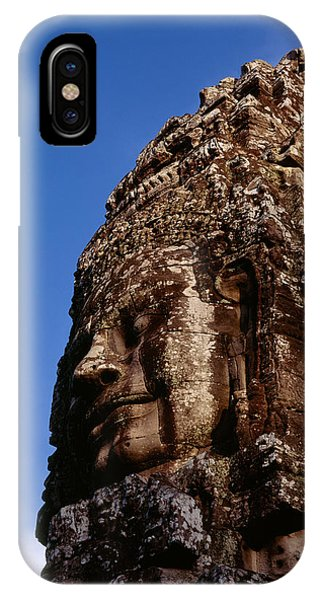 Angkor Thom iPhone Case - Low Angle View Of A Face Carving by Panoramic Images