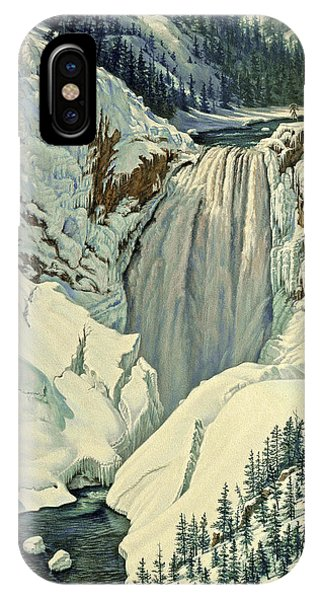 Yellowstone iPhone Case - Lower Falls-april by Paul Krapf