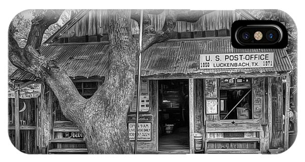 Luckenbach 2 Black And White IPhone Case
