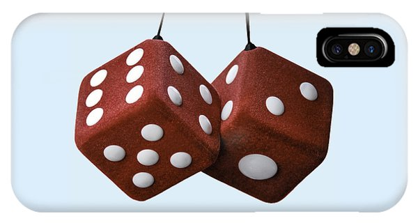 Lucky Fuzzy Red Dice  IPhone Case