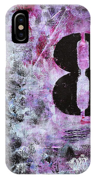 Lucky Number 8 Pink Black White Abstract By Chakramoon Phone Case by Belinda Capol
