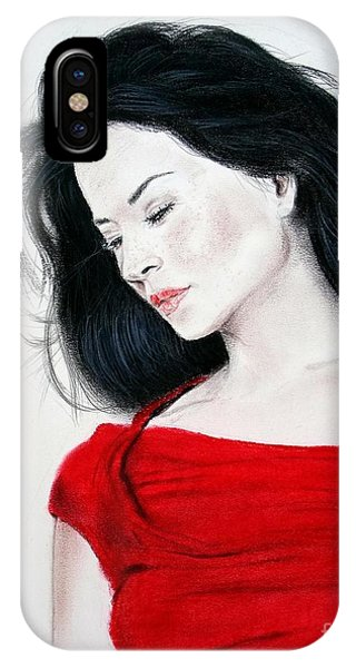 Leading Actress iPhone Case - Lucy Liu The Lady In Red by Jim Fitzpatrick
