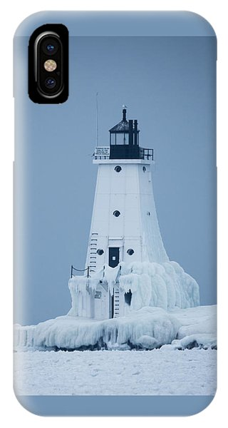 Ludington North Pier Lighthouse In Winter IPhone Case
