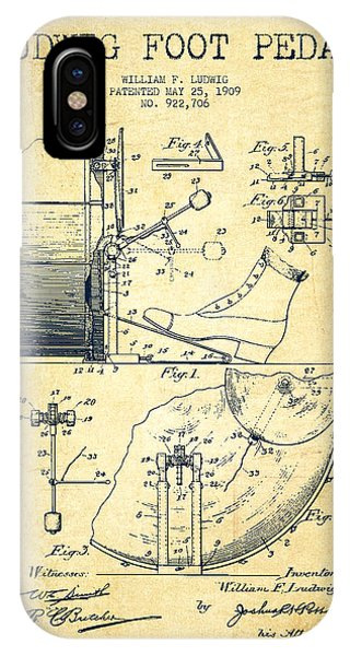 Ludwig Foot Pedal Patent Drawing From 1909 - Vintage IPhone Case