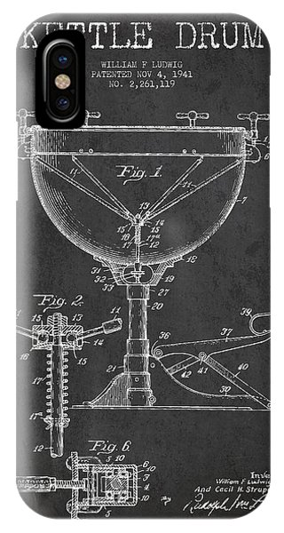 Drum iPhone Case - Ludwig Kettle Drum Drum Patent Drawing From 1941 - Dark by Aged Pixel