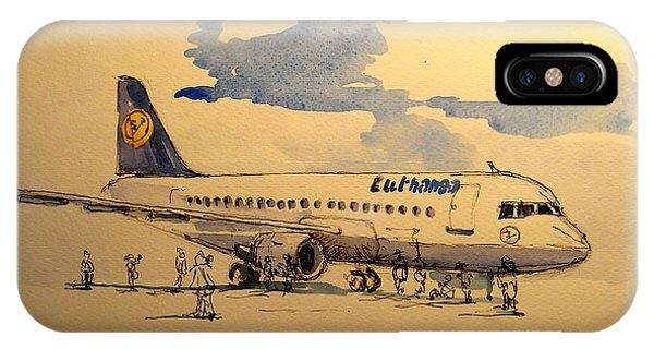 Jet iPhone X / XS Case - Lufthansa Plane by Juan  Bosco