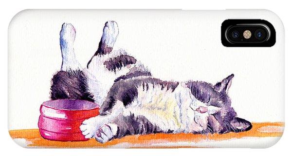 Cat iPhone Case - Lunch Break by Debra Hall