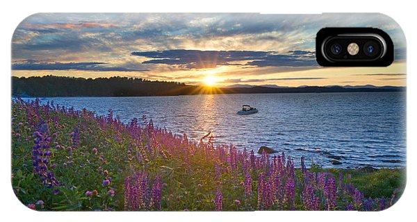 Lupine Sunset On Long Lake IPhone Case