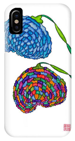 Lupita iPhone Case - Lupita Turkish Blue And Rainbow Flowers 1 by Emily Lupita Studio