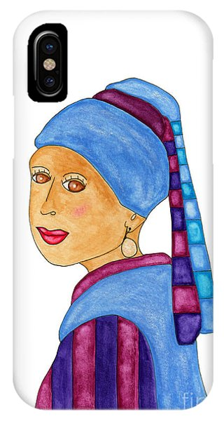 Lupita iPhone Case - Lupita With A Pearl Earring by Emily Lupita Studio
