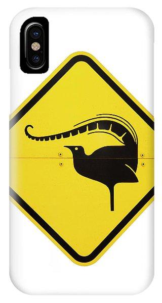 Cutout iPhone Case - Lyrebird Warning Sign, Australia by David Wall