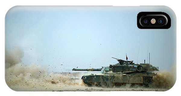 Department Of Defense iPhone Case - M1a1 Abrams Tank Firing A Missile by Us Department Of Defense/science Photo Library