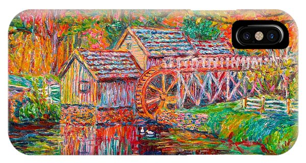 IPhone Case featuring the painting Mabry Mill In Fall by Kendall Kessler