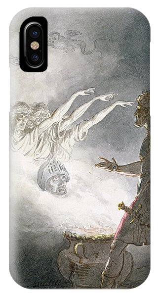 Cauldron iPhone Case - Macbeth And The Apparition Of The Armed Head, Act Iv, Scene I, From Macbeth, By William Shakespeare by William Marshall Craig