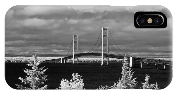 Macinac Bridge - Infrared IPhone Case