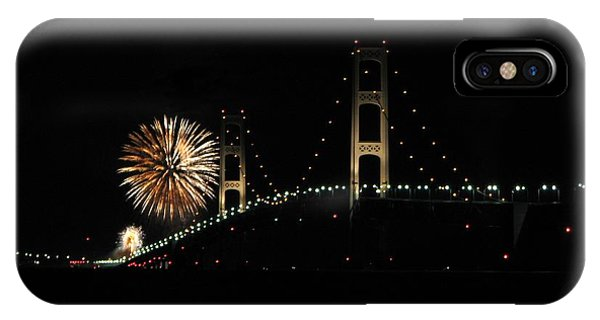 Mackinac Bridge 50th Anniversary Fireworks IPhone Case