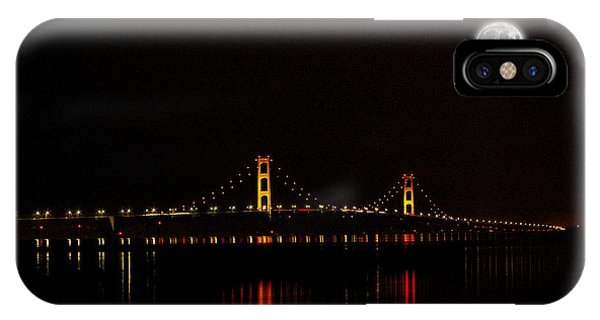 Mackinac Bridge And Moon IPhone Case