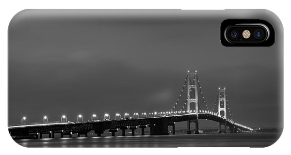 Mackinac Bridge Black And White IPhone Case