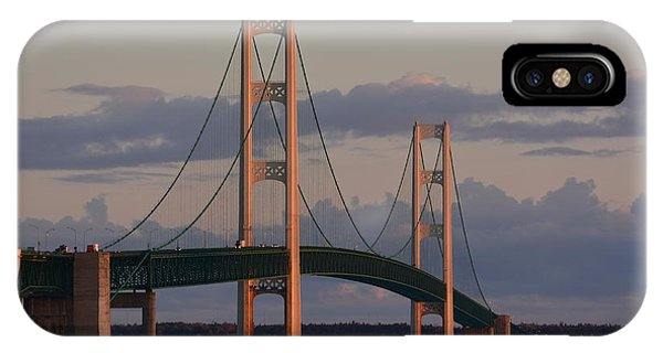 Mackinac Bridge In The Morning Sun Phone Case by Keith Stokes