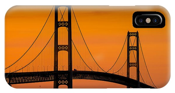 Superior iPhone Case - Mackinac Bridge Sunset by Steve Gadomski