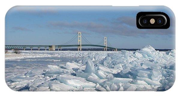 Mackinac Bridge With Ice Windrow IPhone Case