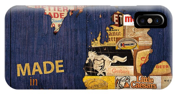 In iPhone Case - Made In Michigan Products Vintage Map On Wood by Design Turnpike