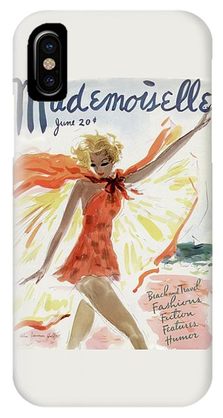Magazine Cover iPhone Case - Mademoiselle Cover Featuring A Model At The Beach by Helen Jameson Hall