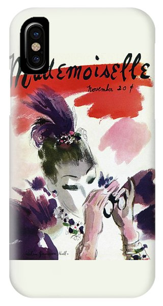 Magazine Cover iPhone Case - Mademoiselle Cover Featuring A Woman Looking by Helen Jameson Hall
