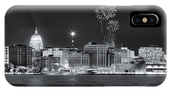Madison - Wisconsin -  New Years Eve Panorama Black And White IPhone Case