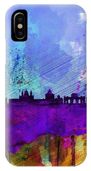Spain iPhone Case - Madrid Watercolor Skyline by Naxart Studio