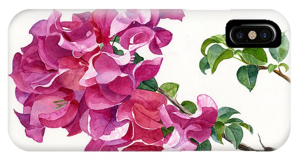 Bougainvillea iPhone Case - Magenta Colored Bougainvillea With Leaves by Sharon Freeman
