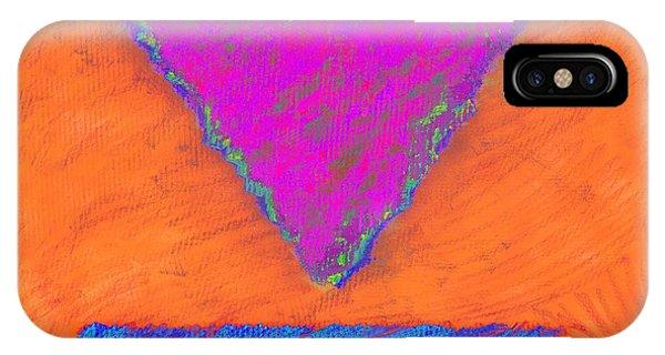 Magenta Triangle On Orange IPhone Case