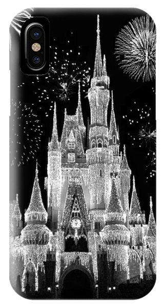 Magic Kingdom Castle In Black And White With Fireworks Walt Disney World IPhone Case