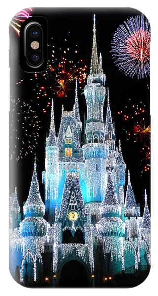 Magician iPhone X / XS Case - Magic Kingdom Castle In Frosty Light Blue With Fireworks 06 by Thomas Woolworth