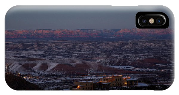 Magic Light Red Rocks With Snow IPhone Case