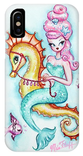 Seahorse iPhone Case - Magical Mermaid With Pink Bouffant by Miss Fluff Claudette Barjoud