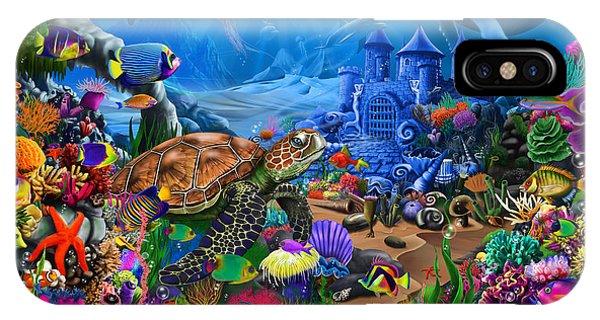 Sea Floor iPhone Case - Magical Undersea Turtle by MGL Meiklejohn Graphics Licensing