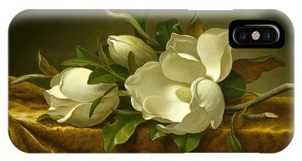 Fowl iPhone Case - Magnolias On Gold Velvet Cloth by Martin Johnson Heade