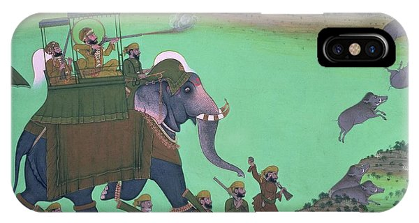 Maharana Sarup Singh Of Udaipur Shooting Boar From Elephant-back, Rajasthan, 1855  IPhone Case