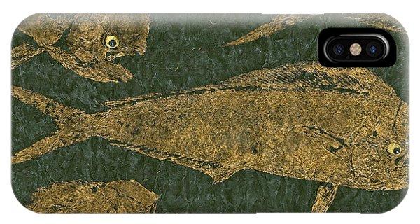 Mahi Mahi On Black W/ Gold Thread Unryu Paper IPhone Case