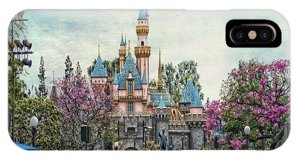 Main Street Sleeping Beauty Castle Disneyland Textured Sky IPhone Case