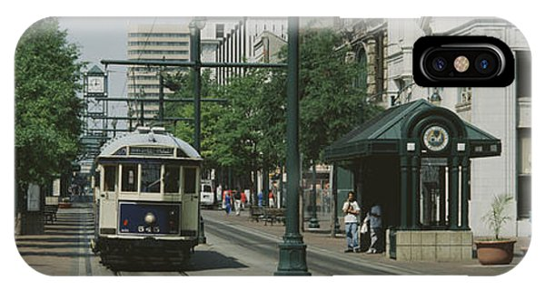 Trolley Car iPhone Case - Main Street Trolley Court Square by Panoramic Images