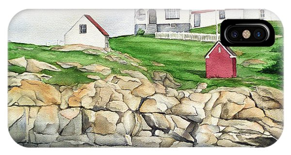 Cape Neddick Lighthouse iPhone Case - Maine Lighthouse Watercolor by Michelle Wiarda-Constantine