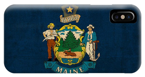 Maine State Flag Art On Worn Canvas IPhone Case