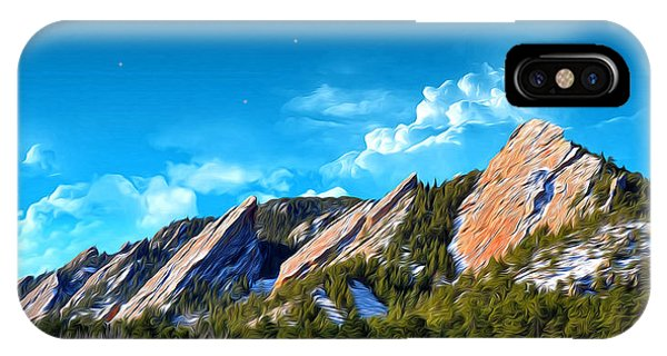 Majestic Flatirons Of Boulder Colorado With Big Moon IPhone Case