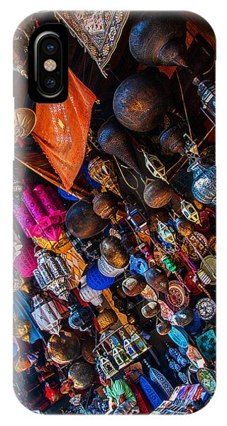 Majorel Blue Lanters Dot The Lush Display Of Colors Near Jemaa El Fna IPhone Case